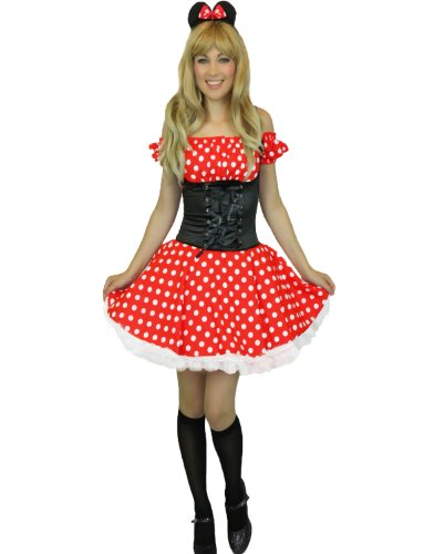 Yummy Bee - Fräulein Maus Karneval Fasching Kostüm Damen + Schwarze Strümpfe Größe 34-46 - Minnie Maus Kostüm Ohne Ohren