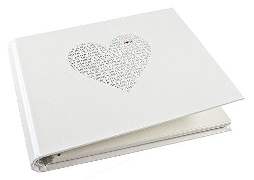 Goldbuch Foto-Gästebuch mit verdeckter Spirale, Love, 29 x 23 cm, 50 weiße Blankoseiten, Beschichtetes Papier mit Silber- und Rotprägung, Weiß, 47080