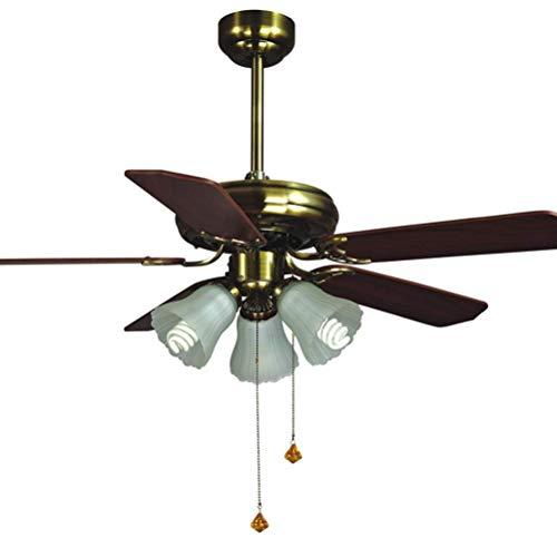 Deck Fans mit Lampe Single Vintage Fan Kronleuchter Restaurant Holz Blatt LED Fan Anhler Beleuchtung Remote Shutter -