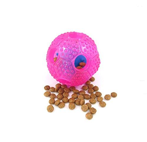 AnGe Hundespielzeug Ball, ungiftig beißen beständig Spielzeug Ball für Haustier Hunde Welpen Katze, Hundefutter behandeln Feeder Zahn Reinigung Ball , pink (Interaktives Behandeln Spielzeug)