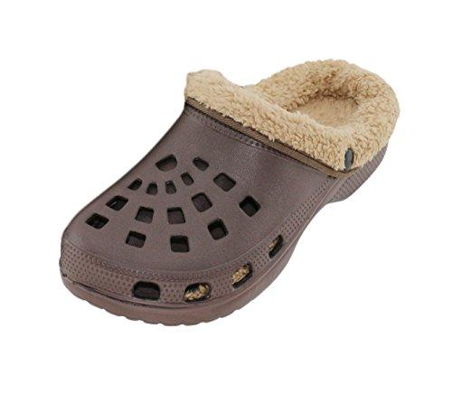 Brandsseller Herren Clogs Pantoffel Schuhe Gartenschuhe Hausschuhe gefüttert Slipper - Farbe: Braun/Beige - Größe: 43