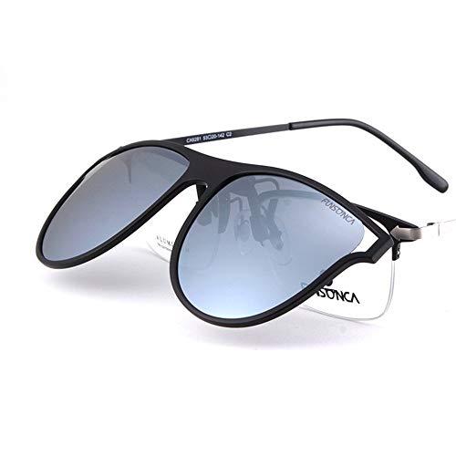 KOMNY Polarisierte Sonnenbrille Myopie Clip Art Männer und Frauen Flut Elegante große Box Mode Fahren Sonnenbrille nur 9g, C