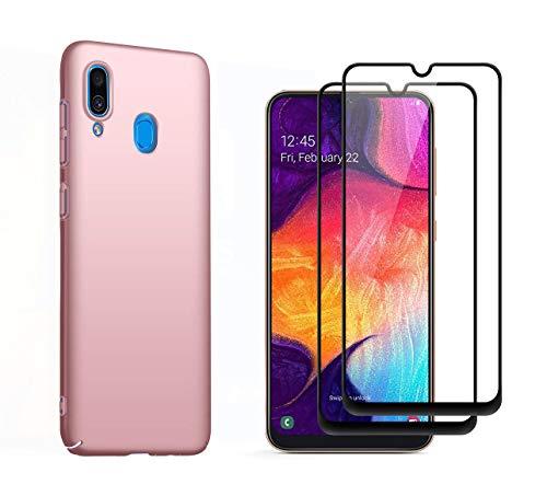 Dedux Hülle Geeignet für Samsung Galaxy A20E,Ultradünne Handyhülle mit Panzerglas vollständig schützende Matte Schutzhülle - Rose Gold