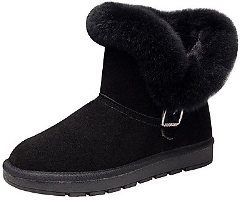 RTRY Zapatos De Mujer Cowhide Otoño Invierno Confort Botas De Nieve Botas De Moda Botas De Tacón Bajo Ronda Toe...