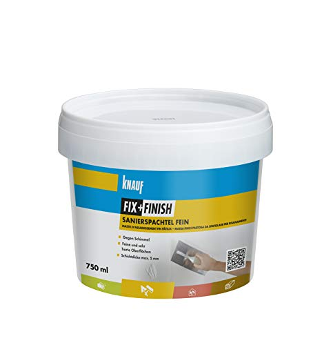 Knauf 593721 Fix+Finish Sanierspachtel fein, grau, 750 ml -