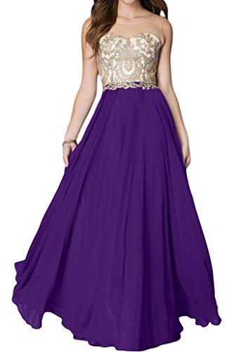 Ivydressing Damen Hochwertig Spitze Applikation Rundkragen A-Linie Lang Promkleid Partykleid Abendkleid Violett