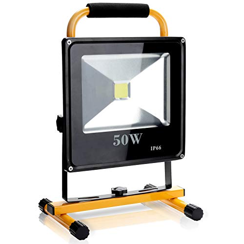 Hengda LED Baustrahler 50W Arbeitsscheinwerfer 4500 Lumen Arbeitsleuchte IP66 Bauscheinwerfer inkl. Standgestell und Tragegriff, Akku Strahler, Gelb