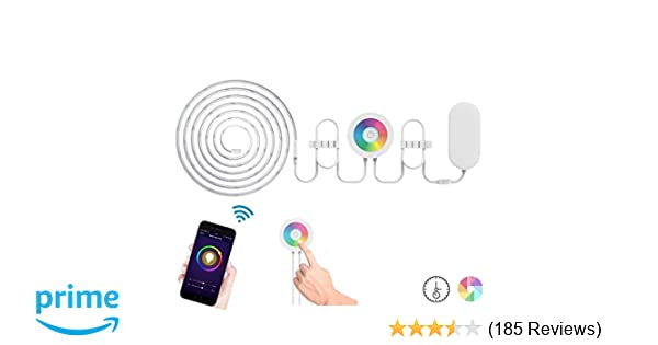 Lombex WiFi Smart Led Light Strip Flexible Tape Lighting Kit Compatible  with Alexa Remote Voice Control 2M RGB Color Changing Strip Mood Light Led