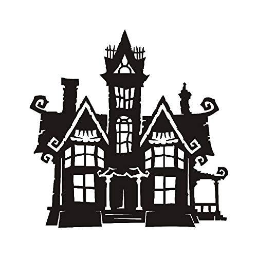 xmydeshoop Halloween Haunted Home Tower Vinyl Abnehmbare Wandtattoo Home Decor Hallowmas Wandaufkleber Für Wohnzimmer Dekoration 59X59 cm