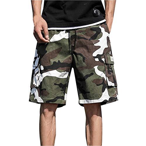 Cargo Plus Größe Shorts (Smniao Herren Cargo Shorts Einfarbig Plus Größe Kurze Hose Jogginghose Tarnen Männer Badeshorts Freizeithosen mit Taschen M-7XL (XXXXXXXL, Grün))