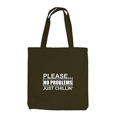 Jutebeutel - Bitte Keine Probleme - Just Chillin Olive