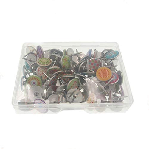 Federmäppchen 100Pcs Weiche Flachstahl 11Mm Casual Chic Thumb Tacks Push Pins Für Fotos Wand Karten Bulletin Board Korktafeln (Color : Color, Size : One Size)