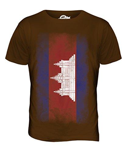 CandyMix Kambodscha Verblichen Flagge Herren T Shirt Braun