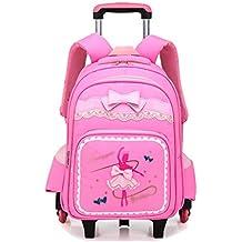 OPmeA Mochila Chica Imprimir Roller Trolley School Bag Pupils Niño niña Trolley Bag Cute Butterfly Student