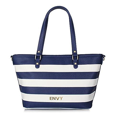 House of Envy Femmes Sac Jet Set Classy Shopper Stripe bleu blanc