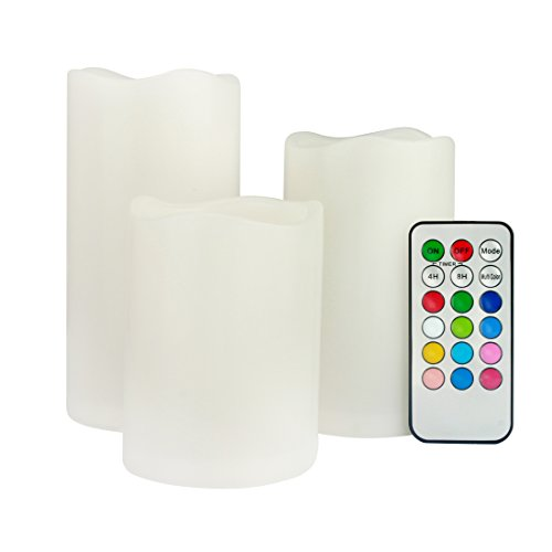fernbedienung fuer led kerzen ECOLUX® 3er Set flammenlose LED Kerzen Farbwechselkerzen batteriebetrieben mit Fernbedienung & Timer