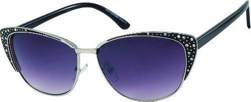 Damen Sonnenbrille mit Strass 80's retro Art. 8215-2 schwarz silber / schwarz