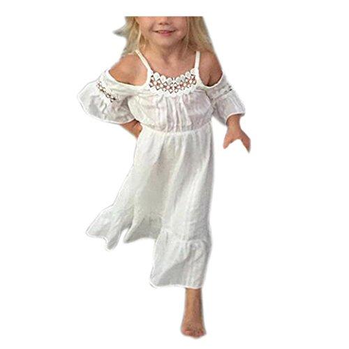 Sommer Mädchen Spitzenkleid, Bekleidung Longra Kinder Mädchen Prinzessin Kleid Kinder Baby Schulterfrei Party Hochzeit Pageant Spitze lange Kleider (2-7Jahre) (95CM 24Monate, (Party Blume Kostüm City Baby)