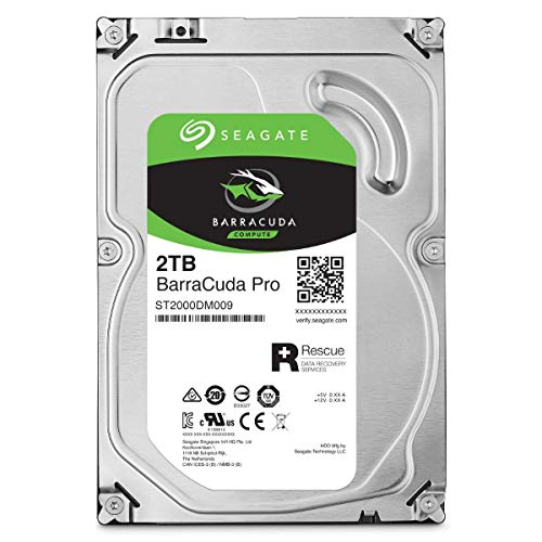 Seagate BarraCuda Pro 2 TB Festplatte intern, 8,9 cm (3,5 Zoll), 7200 u/min, 128 MB Cache, SATA 6 Gb/s, ST2000DMZ09 (ST2000DM009), FFP (Frustfreie Verpackung)