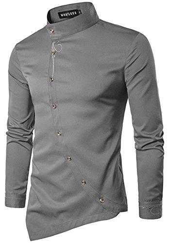WHATLEES Herren urban Basic lang geschnittenes Hemd mit asymmetrisches und aufgesticktes Design Stehkragen B404-Gray-XL