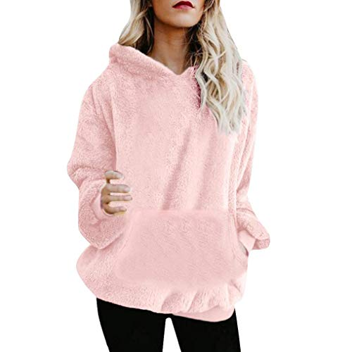 KOKOUK Women Hoodie Ladies Plus Size Long Sleeve Warm-up Faux Fur Zipper Pocket Fleece Hooded Sweatshirt Oversized Coat (B Pink) -