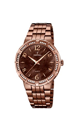 Festina Women's Quartz Watch with Brown Dial Analogue Display and Brown Stainless Steel Plated Bracelet F16797/2
