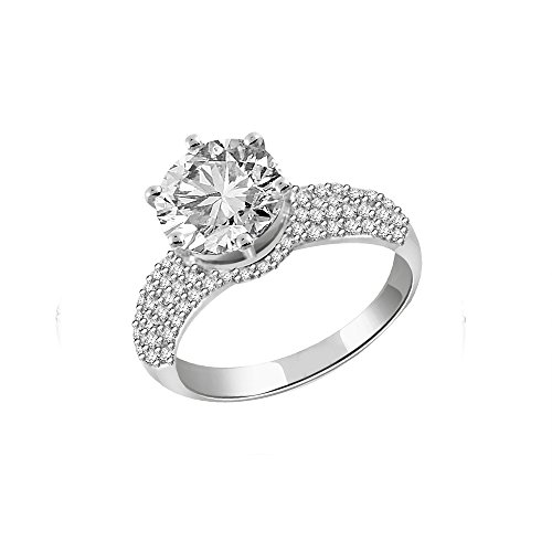 2.42 CTS naturale reale diamante solitario anello in argento Sterling 925 (GH color, PK Clarity)