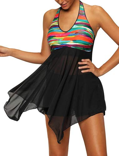 Bettydom Femme Maillot de Bain Une Piece Robe de Plage Bikini Halterneck avec Mini-Short Taille Grande Multicolore(5X-Large, 2-Noir)