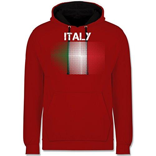 Länder - Italy Flagge - Kontrast Hoodie Rot/Schwarz