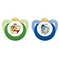 NUK 10173040 Latex Beruhigungssauger (Schnuller) Disney Winnie Trendline mit Ring, Größe 3 (18-36 Monate), BPA-frei, 2 Stück, grün/blau