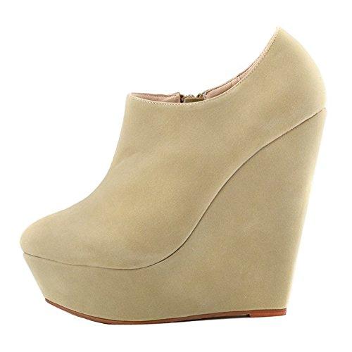 HooH Femmes Sexy Fanelle Wedge Escarpins Roma Boots Beige