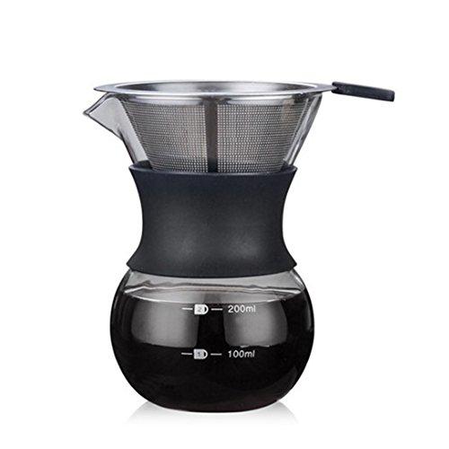 Glas gießen über Kaffeemaschine mit wiederverwendbaren Kaffee Tropfer Metallgitter Filterkegel Tasse Hand Hand Tropfkaraffe gießen über Brauer - - Herd Tropf