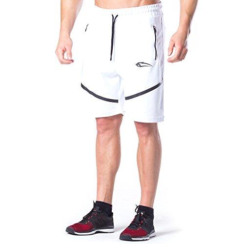 SMILODOX Shorts Herren | Kurze Hosen für Sport Gym Training & Freizeit | TechPro Sporthose - Freizeithose - Trainingshose - Sweatpants Jogger - Jogginghose Kurz, Farbe:Weiß, Größe:S (Weiß Herren Tasche)