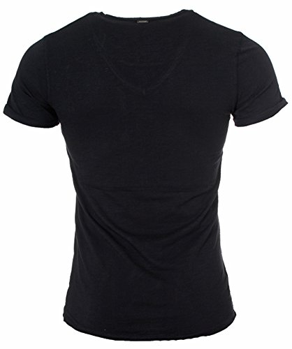 Key Largo Herren vintage used destroyed Look uni T-Shirt Soda new v-neck tiefer V-Ausschnitt slim fit tailliert einfarbig T00619 Schwarz