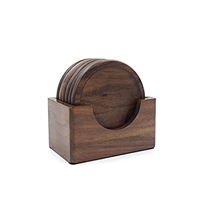 XYTMY Creative Drink Coasters Set Round Elegant Walnut Placemats for Tea Coffee Beer Mugs, Set of 6 with Holder. produced by XYTMY - quick delivery from UK.