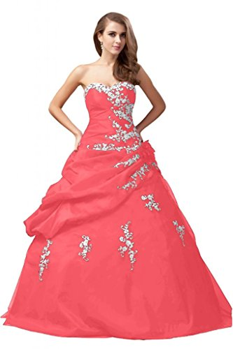 Sunvary Romantischer Neu Herzform Taft Abendkleider Ballkleider Lang Wassermelone