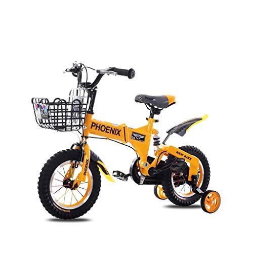 SONG Kinderfahrrad Klapprad 2-3-5-6-7 Jahre Alt Kinderwagen Fahrrad-Kinderhilfs Rad Fahrrad-Unterhaltung Tragbare Fahrrad 12/14/16 Zoll (Color : Orange, Size : 14 inch)