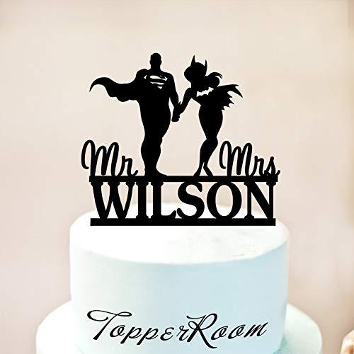 Tortenaufsatz Superman und Batgirl für Hochzeitstorten mit Namen Hochzeit (Batgirl Party Supplies)