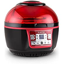Klarstein VitAir Turbo Fryer Friteuse sans huile à air chaud (1400W, 230°max, capacité de 9L, fonction grill et nombreux programmes, nettoyage facile) - rouge