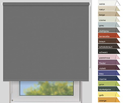 EFIXS Verdunklungsrollo Medium - 25 mm Welle - Farbe: stahlgrau - Größe: 180 x 190cm (Stoffbreite x Höhe) - weitere Standard-Größen im Angebot wählbar
