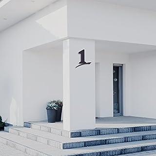 Hausnummer 1 ( 20cm Ziffernhöhe ) in Anthrazit-grau, schwarz oder weiß, 6mm stark aus Acrylglas - Original ALEZZIO Design - Rostfrei, UV-beständig und abwaschbar, Anthrazit wie Pulverbeschichtet RAL 7016, mit Montageschablone