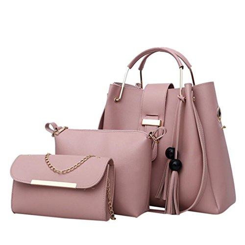 Damen Schultertasche, VJGOAL 3pcs Damen Mädchen Mode Leder Quaste Umhängetasche + Umhängetasche + Handtasche Frau Geburtstag Geschenke (3PCS, Pink) (Luxus-handtaschen Große)