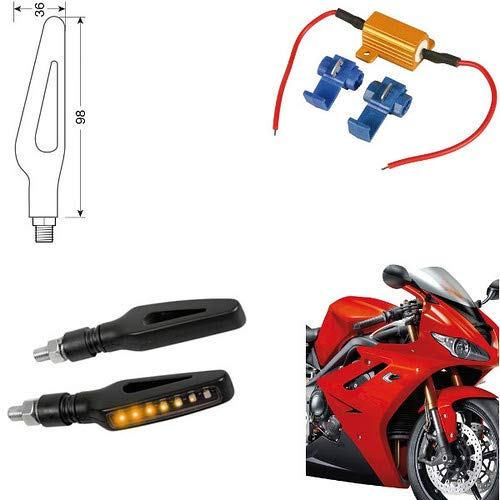90474 Paire Clignotants LED Moto Husqvarna TR 650 Terra indicateurs Direction résistance homologuées universels Moto Noires