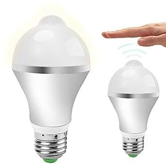 [Energy Class A+] QPAU E27 7W SUPERBRIGHT Lampadine LED con sensore di movimento- PIR Infrared Motion Light Bulb-Bianco caldo