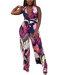 81f4756ec71b4 Mujer Traje Pantalón Elegantes Moda Informales Vintage Playsuit Verano  Cuello En V Profundo Bandage Lindo Chic