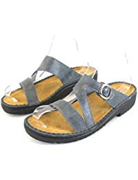 Naot Damen Schuhe Pantoletten Geneva Echt-Leder blaugrau 13996  Wechselfußbett 05d721775a