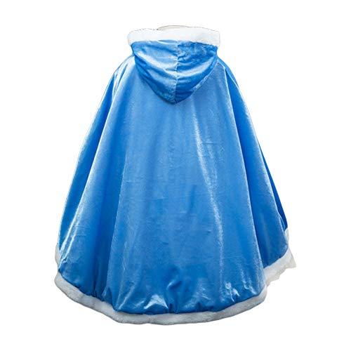 Costumi di Halloween Mantello Bambina Mantello con Cappuccio per Ragazza Principessa Elsa, Anna Belle Rapunzel Biancaneve Festa Cosplay Vestiti Inverno Vestaglia Giacca Travestimento Blu 6-7 Anni