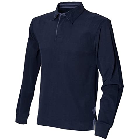 Front Row Mens Super Soft Long Sleeve Rugby Polo Shirt