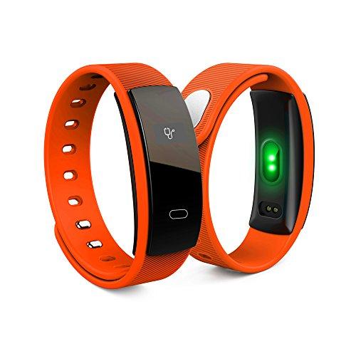 Hykis QS80 Sportuhr IP67 Wireless-Fitness Tracker Blutdruck-Puls-Monitor-Wecker Outdoor-Fitnessger?te Watch [orange] (Tommy Hilfiger Watch Orange)