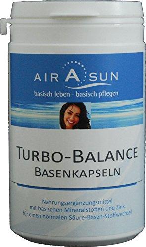 Basenpulver Kapseln Turbobalance 180 Stück - für den Säure Basen Haushalt mit Kalium, Calcium, Magnesium und Zink   Ideal bei Basenfasten • Sport • Diät -